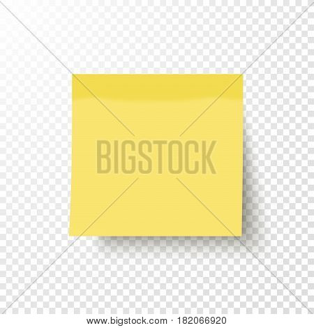 Yellow sticky note isolated on transparent background. Note post memo label. Realistic template mockup with shadow for your projects. Vector stock illustration.