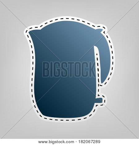 Electric kettle sign. Vector. Blue icon with outline for cutting out at gray background.