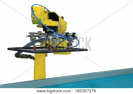 Industrial robot with vacuum suckers picks the item from the conveyor