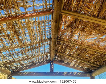 makeshift roof on tavern on koukanaris beach, skiathos