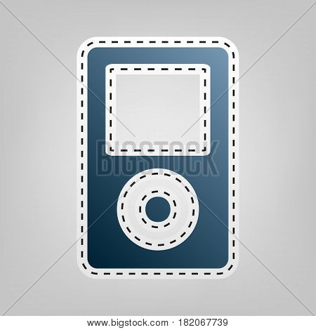 Portable music device. Vector. Blue icon with outline for cutting out at gray background.