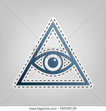 All seeing eye pyramid symbol. Freemason and spiritual. Vector. Blue icon with outline for cutting out at gray background.