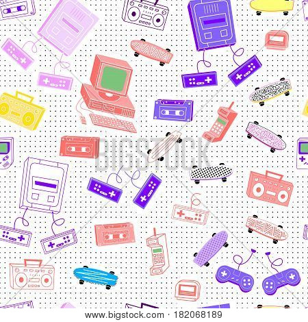 Pattern in the style of the 80's 90's from the sets, tape recorders, cassettes, computers, skateboards, consoles, phones in the background with dots
