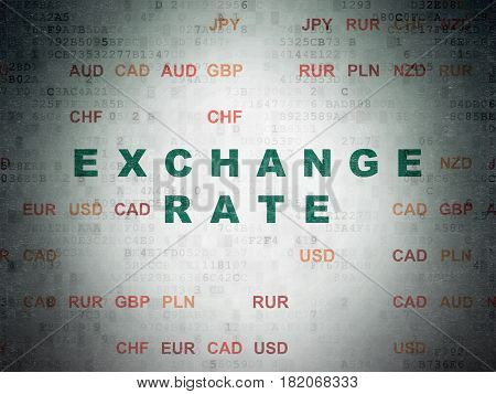 Currency concept: Painted green text Exchange Rate on Digital Data Paper background with Currency