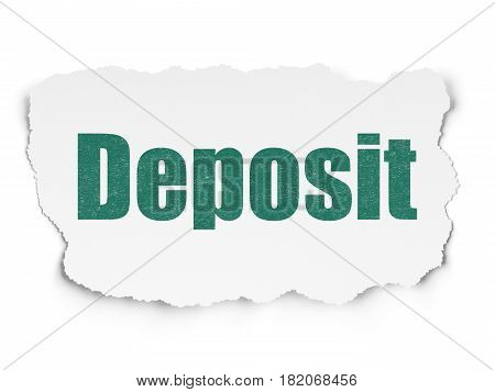 Currency concept: Painted green text Deposit on Torn Paper background with  Hand Drawn Finance Icons