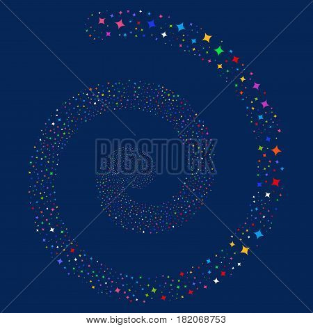 Sparcle Star fireworks whirl spiral. Vector bright multicolored scattered pictograms.