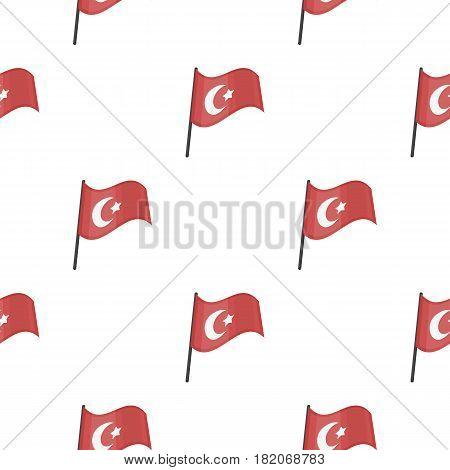 Flag of Turkey icon in cartoon style isolated on white background. Turkey pattern vector illustration.