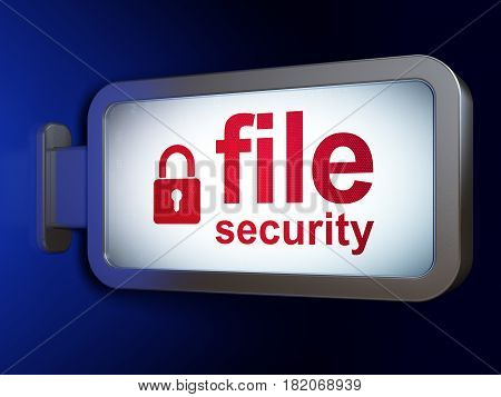 Security concept: File Security and Closed Padlock on advertising billboard background, 3D rendering