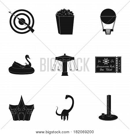 The amusement Park rides. The attributes of a recreational Park, panic room, cotton candy.Amusement Park icon in set collection on black style vector symbol stock web illustration.