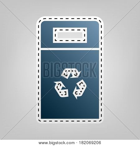 Trashcan sign illustration. Vector. Blue icon with outline for cutting out at gray background.
