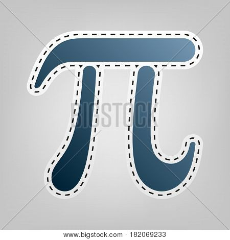 Pi greek letter sign. Vector. Blue icon with outline for cutting out at gray background.