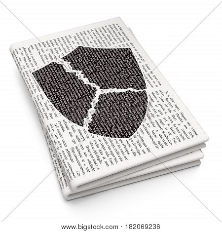 Privacy concept: Pixelated black Broken Shield icon on Newspaper background, 3D rendering