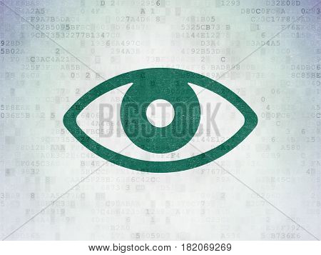 Privacy concept: Painted green Eye icon on Digital Data Paper background