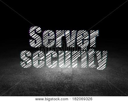 Privacy concept: Glowing text Server Security in grunge dark room with Dirty Floor, black background