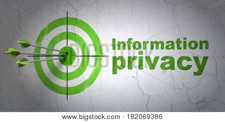 Success privacy concept: arrows hitting the center of target, Green Information Privacy on wall background, 3D rendering