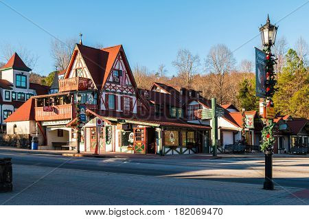 Helen Georgia USA - December 14 2016: View of the shops and cafes on the Main Street