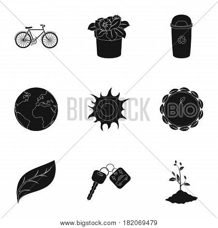 The ecology of the earth, the problems of ecology, ways to combat the ravages.Bio and Ecology icon in set collection on black style vector symbol stock web illustration.