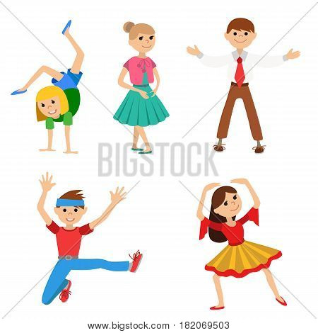 Children dancing in class, vector illustration isolated on whote background