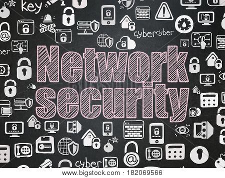 Security concept: Chalk Pink text Network Security on School board background with  Hand Drawn Security Icons, School Board