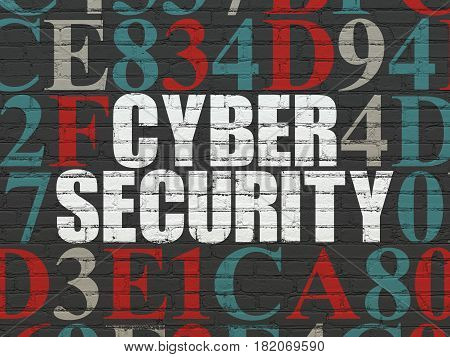 Privacy concept: Painted white text Cyber Security on Black Brick wall background with Hexadecimal Code