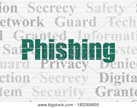 Safety concept: Painted green text Phishing on White Brick wall background with  Tag Cloud