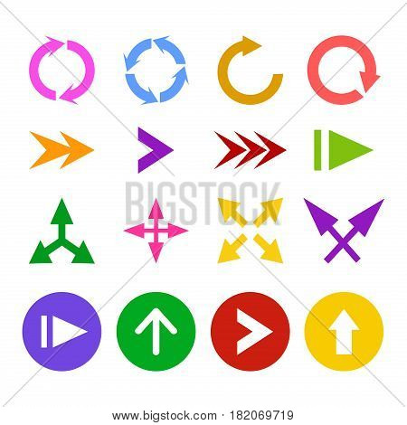 Arrow icon set symbol next cursor direction. Vector arrows down pointer left sign. Download interface back direction.