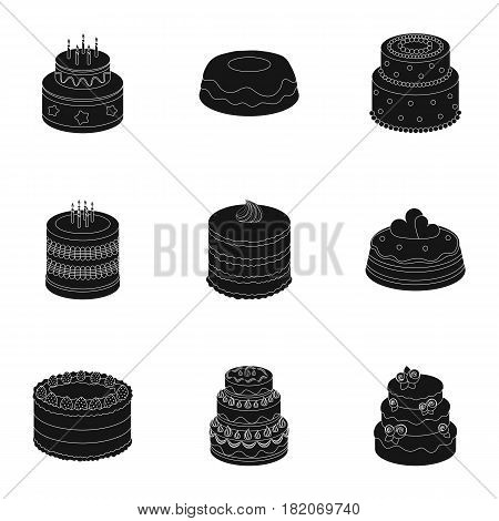 Cakes for the holidays. A set of different sweets. Beautifully decorated cakes and muffins.Cakes icon in set collection on black style vector symbol stock web illustration.