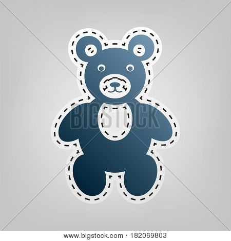 Teddy bear sign illustration. Vector. Blue icon with outline for cutting out at gray background.