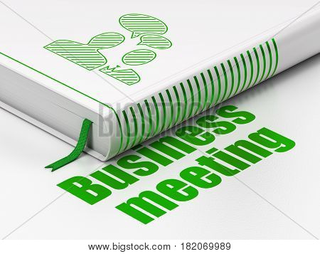 Business concept: closed book with Green Business Meeting icon and text Business Meeting on floor, white background, 3D rendering
