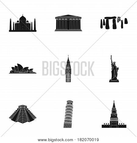 Sights of the countries of the world. Famous buildings and monuments of different countries and cities. Countries icon in set collection on black style vector symbol stock web illustration.