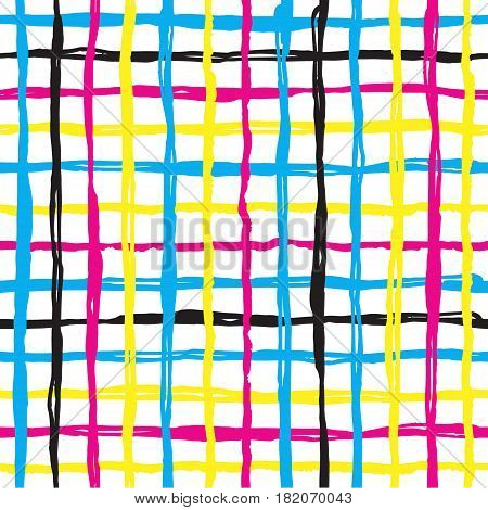 Vector seamless pattern brush cross and cell. yellow blue pink color on white background. Hand painted grange texture. Ink geometric elements. Fashion modern style. Endless fantasy plaid fabric print