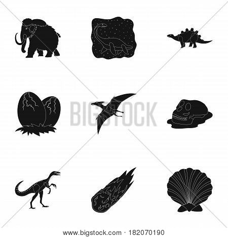 Ancient extinct animals and their tracks and remains. Dinosaurs, tyrannosaurs, pnictosaurs.Dinisaurs and prehistorical icon in set collection on black style vector symbol stock web illustration.