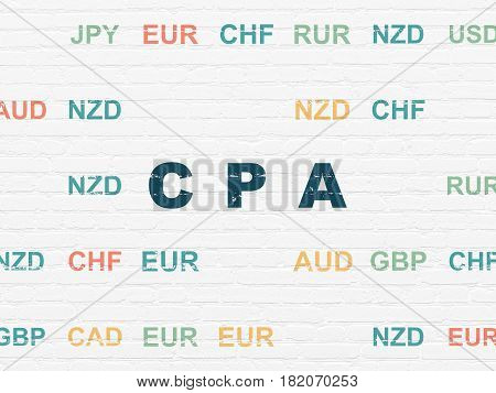 Finance concept: Painted blue text CPA on White Brick wall background with Currency