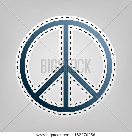 Peace sign illustration. Vector. Blue icon with outline for cutting out at gray background.