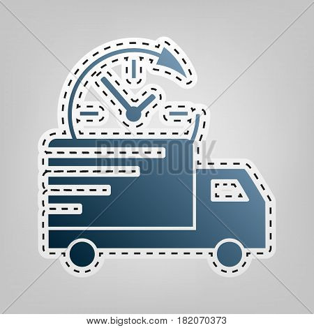 Delivery sign illustration. Vector. Blue icon with outline for cutting out at gray background.