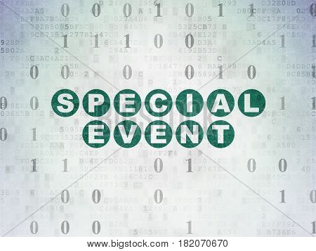 Finance concept: Painted green text Special Event on Digital Data Paper background with Binary Code