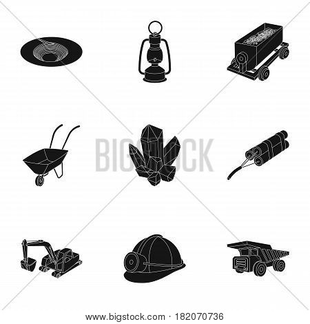 Set of icons about the mine. The extraction of coal, minerals, protection of the miners. Processing of coal.Mine industral icon in set collection on black style vector symbol stock web illustration.
