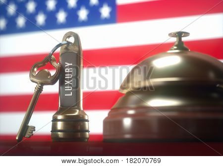 3D illustration. Luxury hotel key and vintage golden bell of the USA on the wooden table of the lobby service.