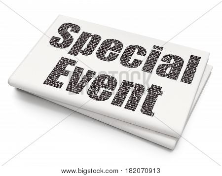 Finance concept: Pixelated black text Special Event on Blank Newspaper background, 3D rendering