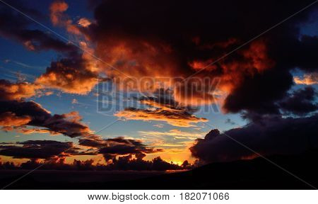 Beautiful dawn with vibrant sky and clouds of color