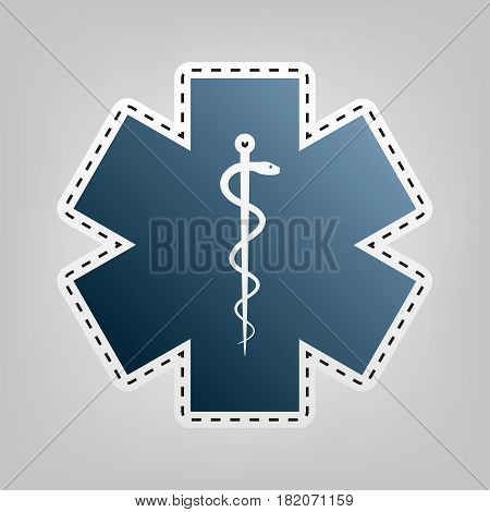 Medical symbol of the Emergency or Star of Life. Vector. Blue icon with outline for cutting out at gray background.