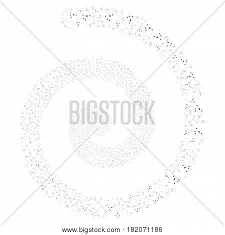 Space Stars exploding whirl spiral. Vector black random pictograms.