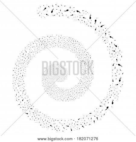 Spermatozoon festive whirlpool spiral. Vector black scattered objects.