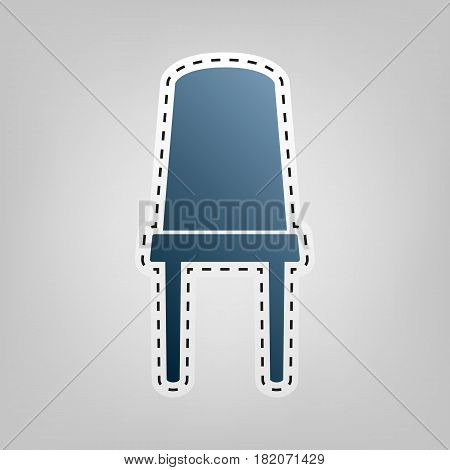 Office chair sign. Vector. Blue icon with outline for cutting out at gray background.