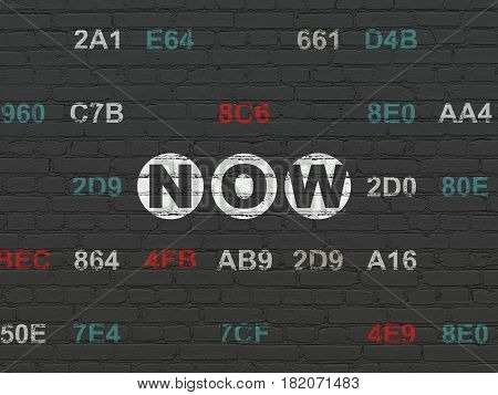 Time concept: Painted white text Now on Black Brick wall background with Hexadecimal Code