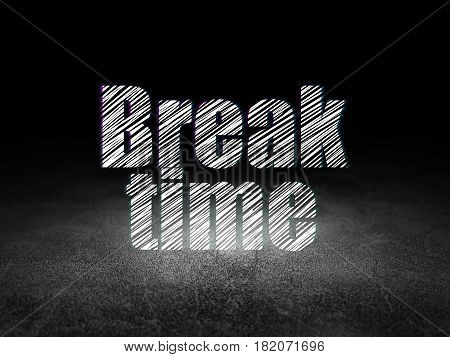 Time concept: Glowing text Break Time in grunge dark room with Dirty Floor, black background