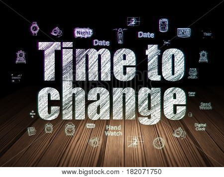 Time concept: Glowing text Time to Change,  Hand Drawing Time Icons in grunge dark room with Wooden Floor, black background