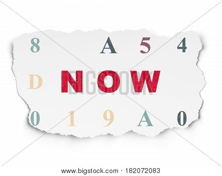 Time concept: Painted red text Now on Torn Paper background with  Hexadecimal Code