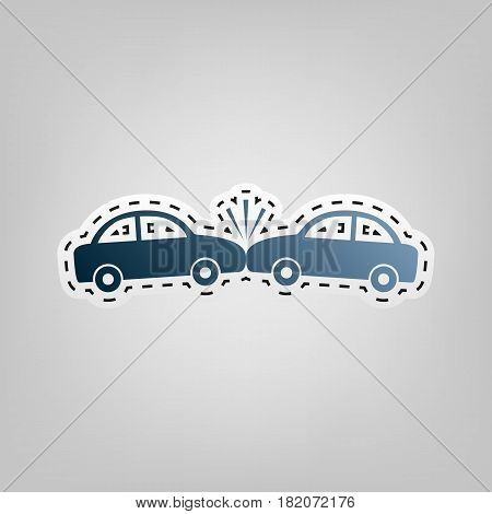Crashed Cars sign. Vector. Blue icon with outline for cutting out at gray background.