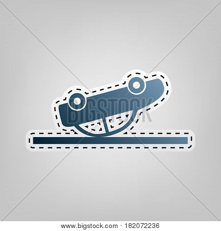 Crashed Car sign. Vector. Blue icon with outline for cutting out at gray background.